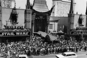 "Crowds throng Mann's Chinese Theatre for ""Star Wars"" in 1977."